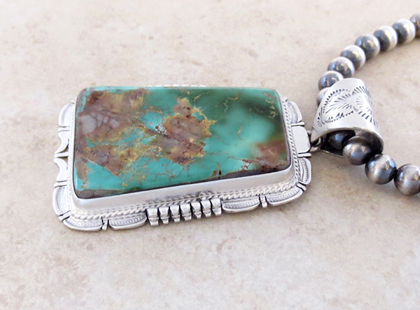 Image 4 of Huge Royston Turquoise Sterling Silver Pendant & Desert Pearl Necklace - 3617br