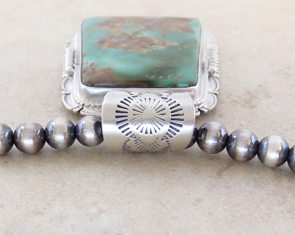 Image 5 of Huge Royston Turquoise Sterling Silver Pendant & Desert Pearl Necklace - 3617br