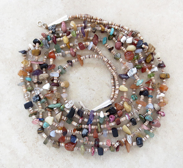 Kewa 3 Strand Stone & Shell Treasure Necklace 27 long - 3563rio