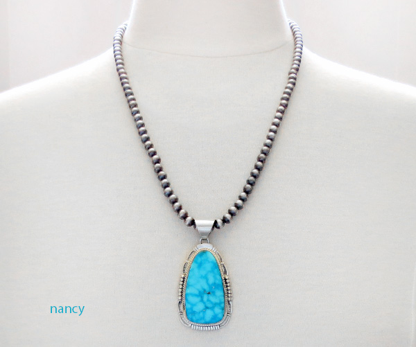 Image 1 of Kingman Turquoise Sterling Silver Pendant & Desert Pearl Necklace - 3562br