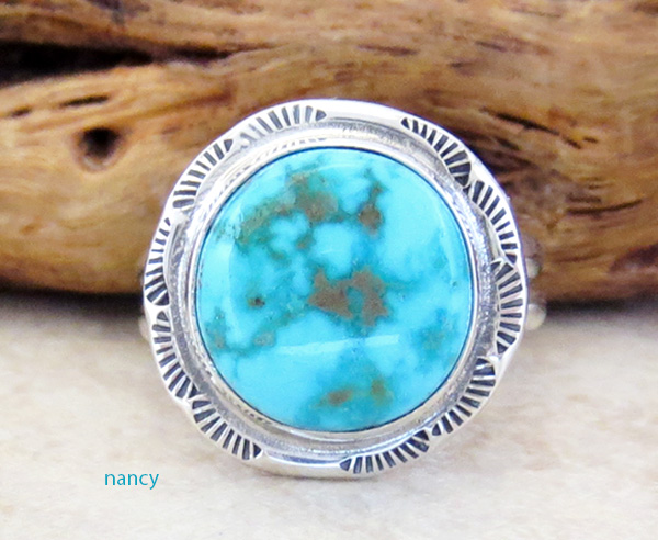 Navajo Made Turquoise Mountain Turquoise & Sterling Silver Ring Size 6 - 3469sn