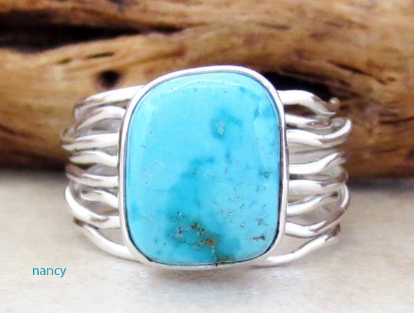 Kingman Turquoise & Sterling Silver Ring Size 7 Navajo Made - 3564sn