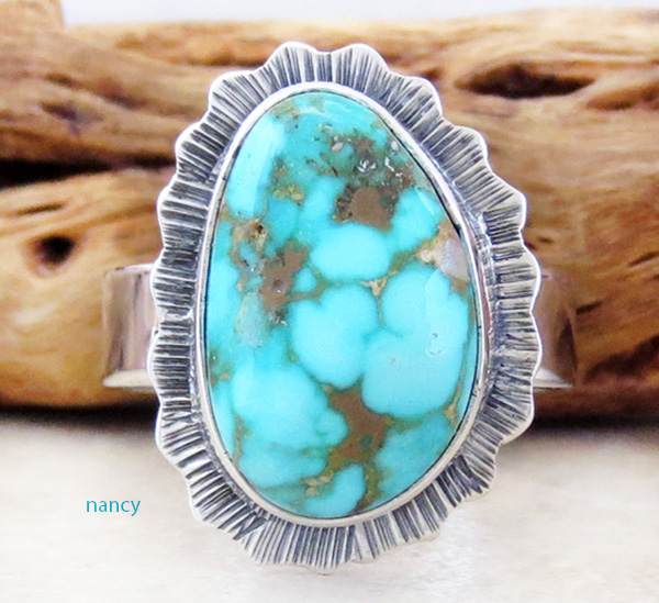 Turquoise Mountain Turquoise & Sterling Silver Ring Size 8 - 3291sn