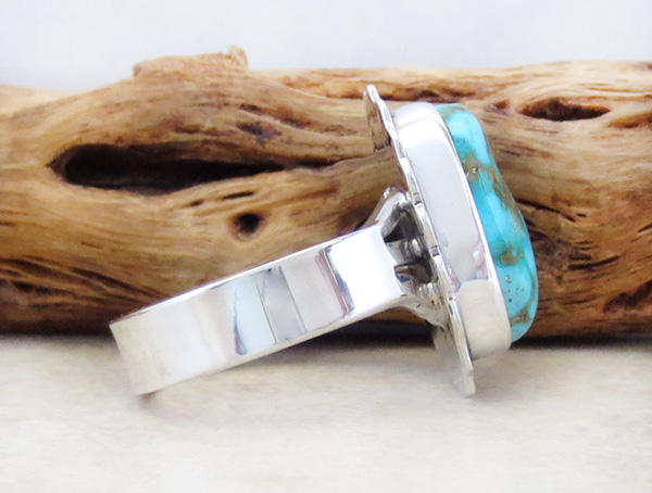Image 2 of     Native American Jewelry Turquoise & Sterling Silver Ring Size 8 - 3291sn