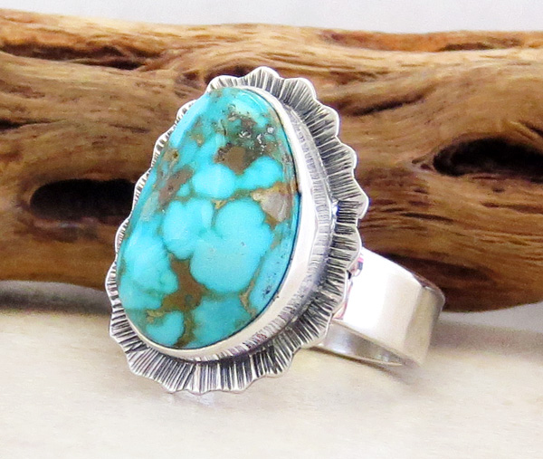 Image 3 of     Native American Jewelry Turquoise & Sterling Silver Ring Size 8 - 3291sn