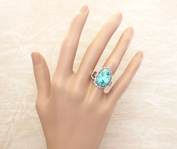 Image 1 of     Native American Jewelry Turquoise & Sterling Silver Ring Size 8 - 3291sn