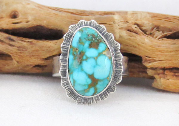 Native American Jewelry Turquoise & Sterling Silver Ring Size 8 - 3291sn