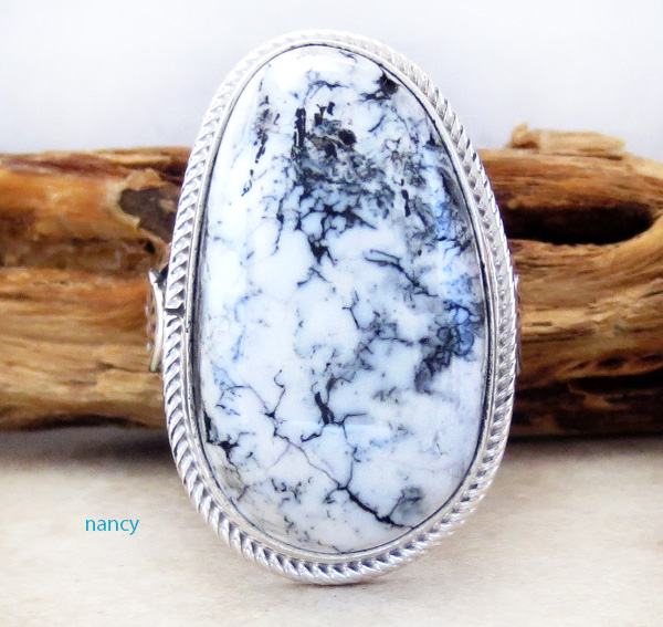 White Buffalo Stone & Sterling Silver Ring Size 9 Navajo - 3470sn