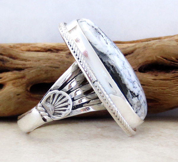 Image 1 of White Buffalo Stone & Sterling Silver Ring Size 9 Navajo - 3470sn