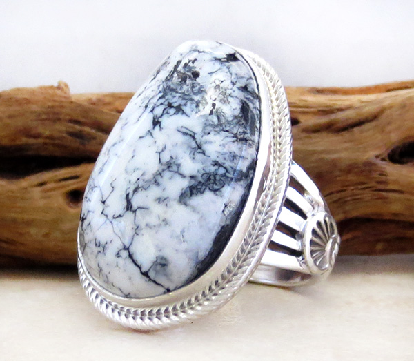Image 2 of White Buffalo Stone & Sterling Silver Ring Size 9 Navajo - 3470sn