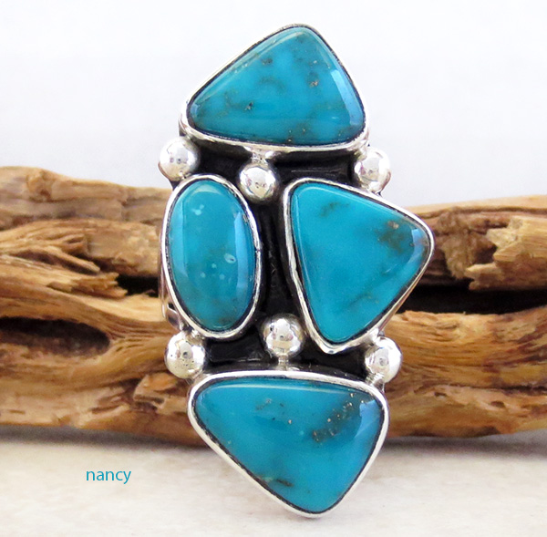 Turquoise & Sterling Silver Ring size 7 Native American Jewelry- 3251sn