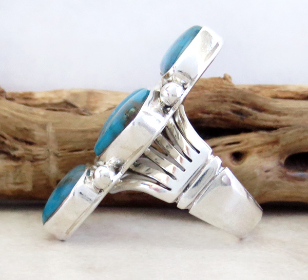 Image 1 of    Turquoise & Sterling Silver Ring size 7 Native American Jewelry- 3251sn
