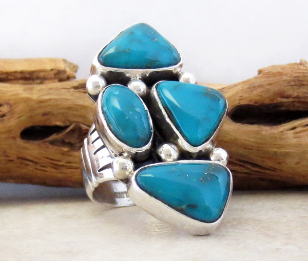 Image 2 of    Turquoise & Sterling Silver Ring size 7 Native American Jewelry- 3251sn