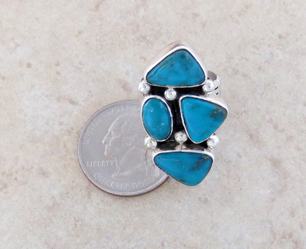Image 3 of    Turquoise & Sterling Silver Ring size 7 Native American Jewelry- 3251sn
