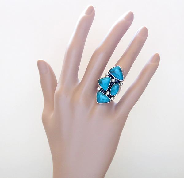 Image 5 of    Turquoise & Sterling Silver Ring size 7 Native American Jewelry- 3251sn