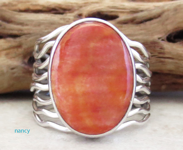 Orange Spiny Oyster & Sterling Silver Ring Size 9.5 Navajo - 3254sn