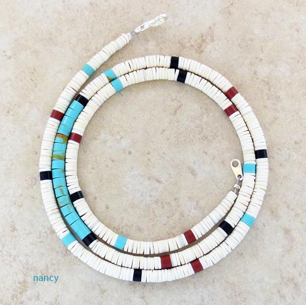 Image 0 of  Turquoise White Shell Heishi Necklace Santo Domingo 24