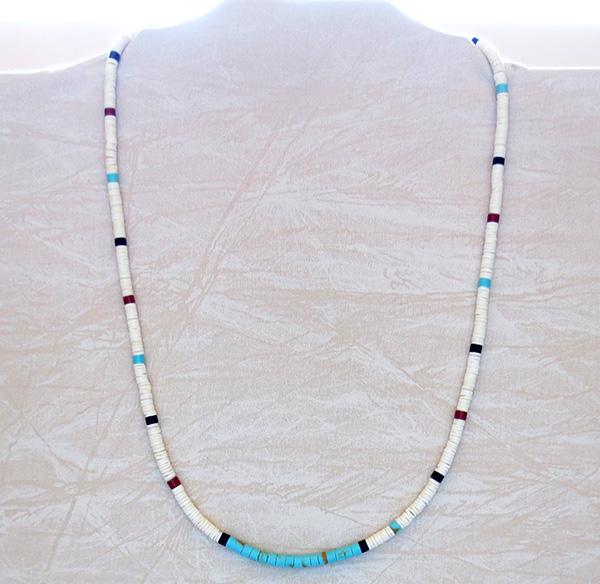 Image 1 of  Turquoise White Shell Heishi Necklace Santo Domingo 24