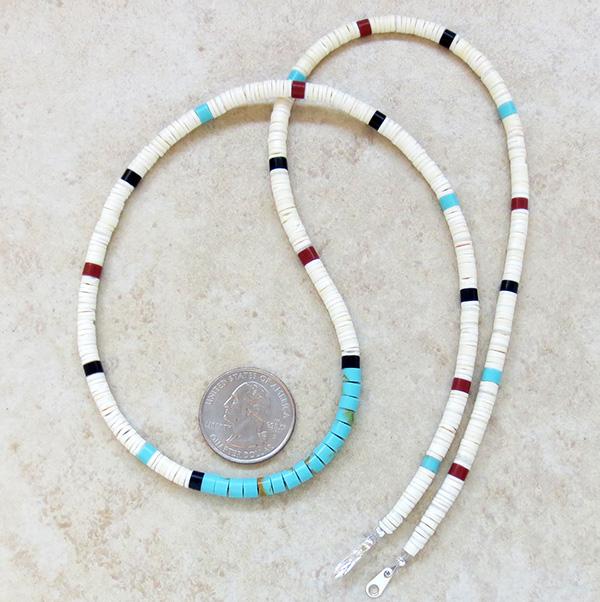 Image 2 of  Turquoise White Shell Heishi Necklace Santo Domingo 24