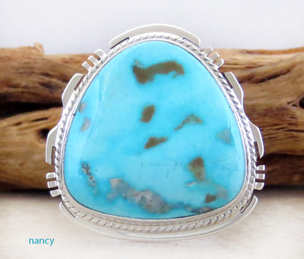 Large Turquoise Mountain Turquoise & Sterling Silver Ring Size 10 - 3623sn