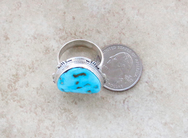 Image 3 of      Turquoise Mountain Turquoise & Sterling Silver Ring Size 10 - 3623sn