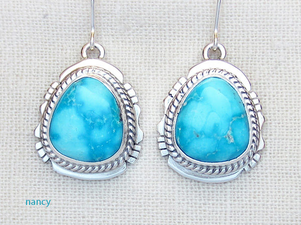Turquoise Mountain Turquoise & Sterling Silver Earrings Navajo - 3625sn