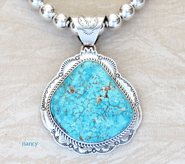 Huge Kingman Turquoise Sterling Silver Pendant & Desert Pearl Necklace - 3624sn