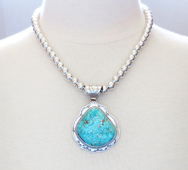Image 1 of Kingman Turquoise Sterling Silver Pendant & Desert Pearl Necklace - 3624sn