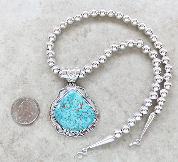 Image 2 of Kingman Turquoise Sterling Silver Pendant & Desert Pearl Necklace - 3624sn