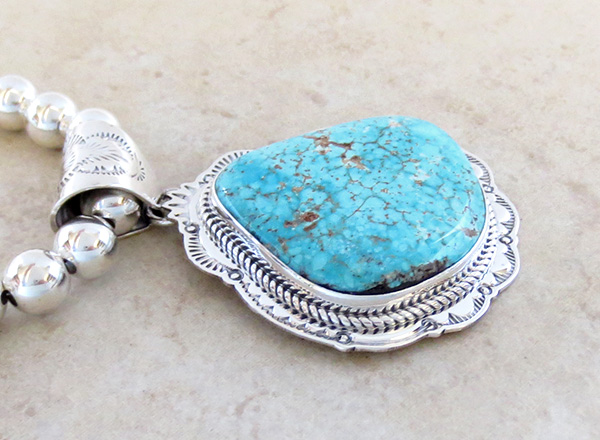 Image 3 of Kingman Turquoise Sterling Silver Pendant & Desert Pearl Necklace - 3624sn