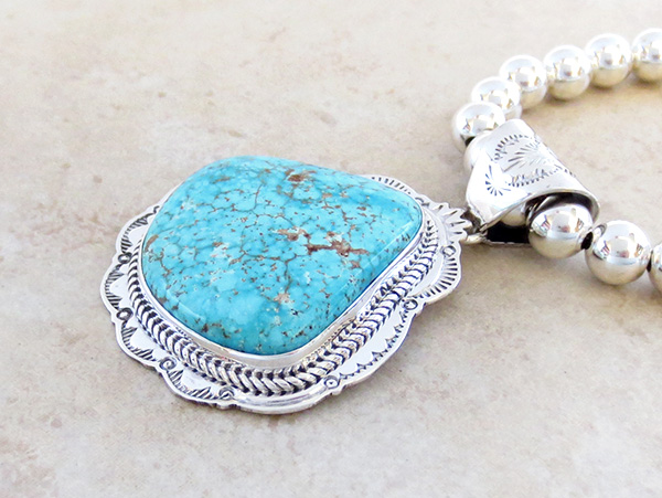 Image 4 of Kingman Turquoise Sterling Silver Pendant & Desert Pearl Necklace - 3624sn