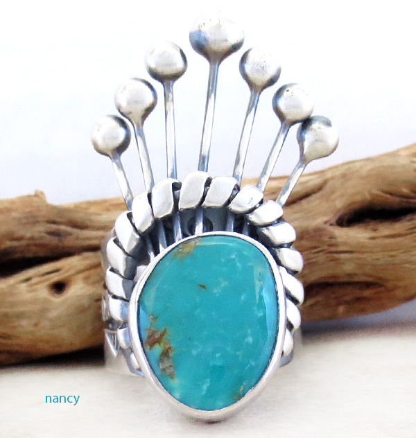 Big Old Style Turquoise & Sterling Silver Ring Larry Kaye Size 9.5 - 1710tag