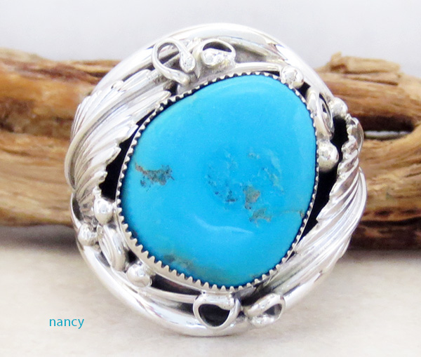 Large Turquoise & Sterling Silver Ring Size 13 Navajo Made - 1607rb