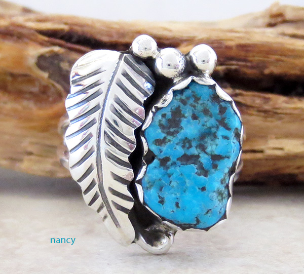 Image 0 of     Turquoise Nugget & Sterling Silver Ring Size 7.5 Navajo - 1608sn
