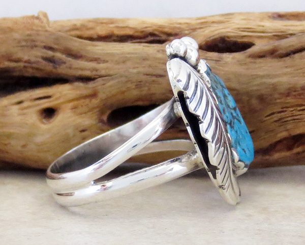 Image 1 of     Turquoise Nugget & Sterling Silver Ring Size 7.5 Navajo - 1608sn