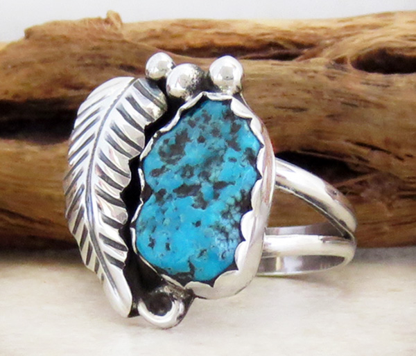 Image 2 of     Turquoise Nugget & Sterling Silver Ring Size 7.5 Navajo - 1608sn