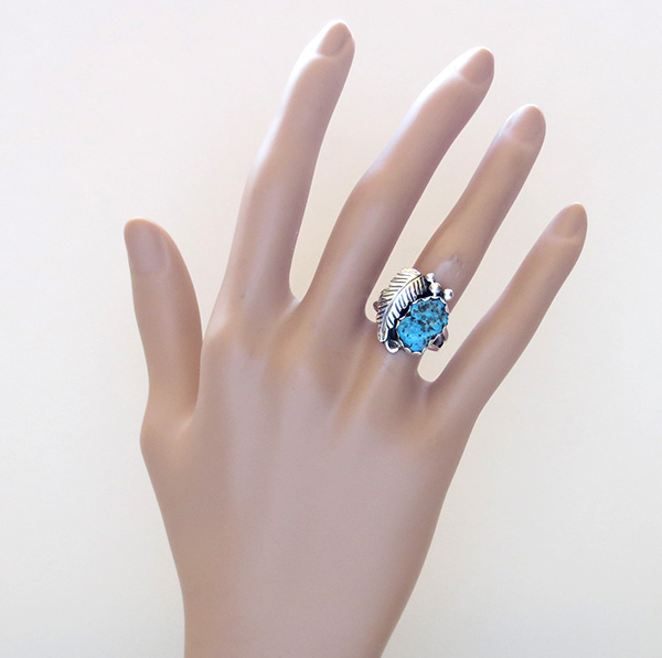 Image 3 of     Turquoise Nugget & Sterling Silver Ring Size 7.5 Navajo - 1608sn