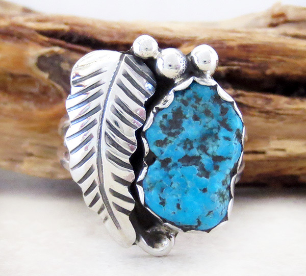 Turquoise Nugget & Sterling Silver Ring Size 7.5 Navajo - 1608sn