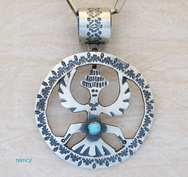 Large Zuni Knifewing Deity & Sterling Silver Pendant - 1928rb
