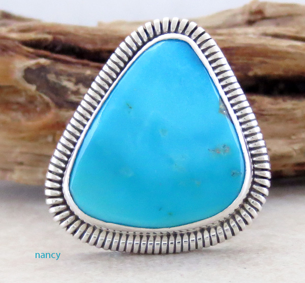 Turquoise & Sterling Silver Ring Native American Made Size 7 - 1617tag