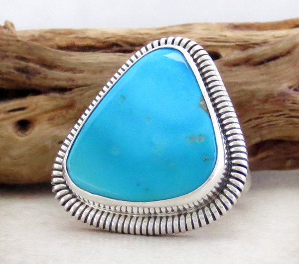 Image 2 of          Turquoise & Sterling Silver Ring Native American Made Size 7 - 1617tag