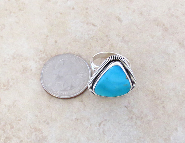Image 3 of          Turquoise & Sterling Silver Ring Native American Made Size 7 - 1617tag