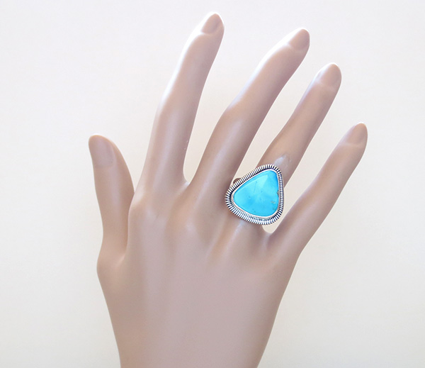 Image 5 of          Turquoise & Sterling Silver Ring Native American Made Size 7 - 1617tag