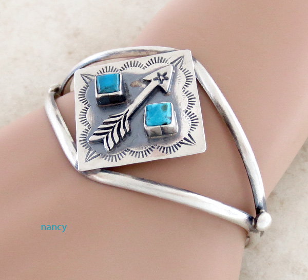 Old Style Turquoise & Sterling Silver Bracelet  Navajo - 3734tag