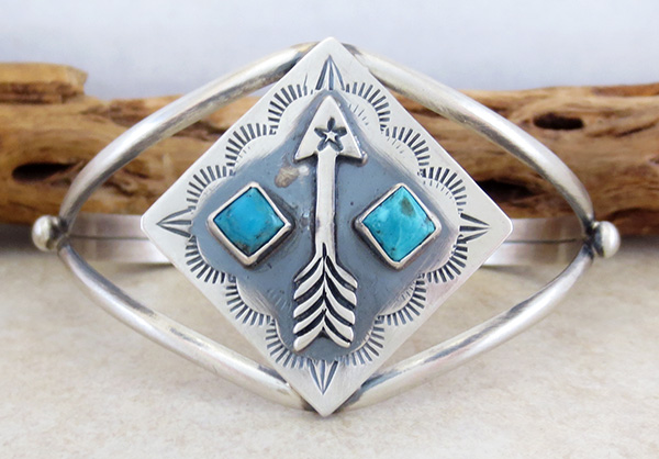 Image 1 of  Old Style Turquoise & Sterling Silver Bracelet  Navajo Jewelry- 3734tag