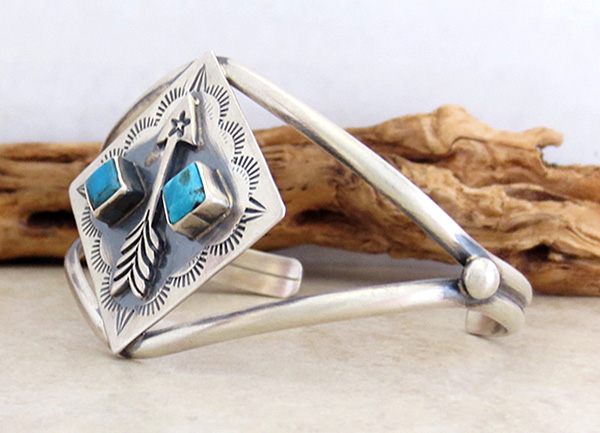 Image 3 of  Old Style Turquoise & Sterling Silver Bracelet  Navajo Jewelry- 3734tag