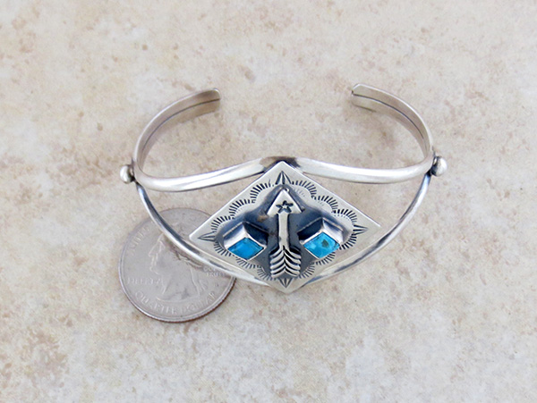 Image 4 of  Old Style Turquoise & Sterling Silver Bracelet  Navajo Jewelry- 3734tag
