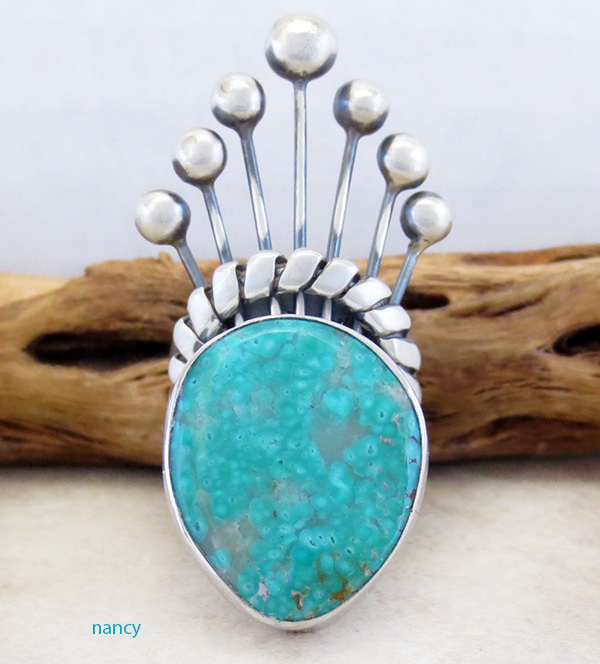 Image 0 of     Big Old Style Turquoise & Sterling Silver Ring Size 8.75 - 1741tag