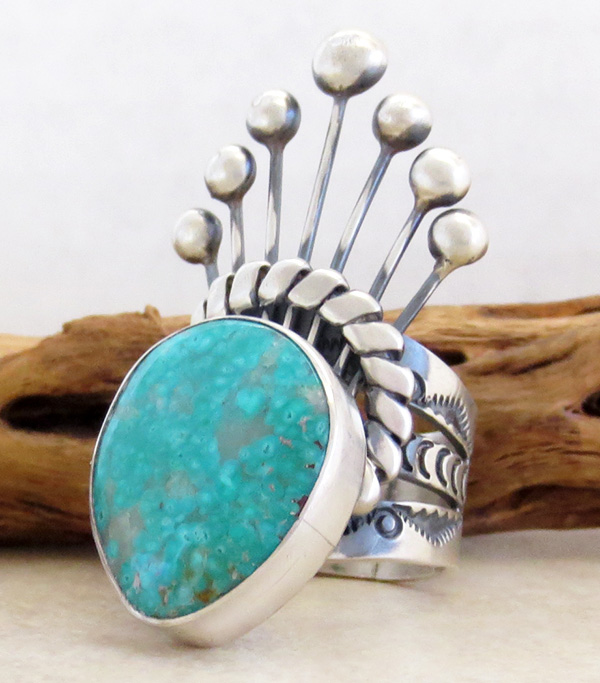 Image 2 of     Big Old Style Turquoise & Sterling Silver Ring Size 8.75 - 1741tag
