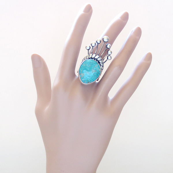 Image 5 of     Big Old Style Turquoise & Sterling Silver Ring Size 8.75 - 1741tag